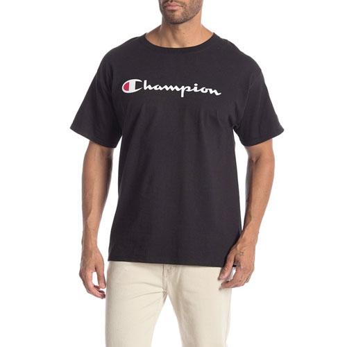Men's Logo Print Crew Neck T-Shirt, Black, swatch