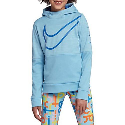 Girl's Therma Swoosh Training Hoodie, Blue, swatch