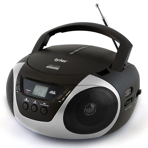 Portable Sport Stereo CD Player with AM/FM Radio, Silver,Chrome,Nickel, swatch