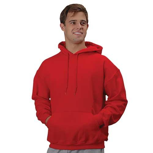 Men's Long Sleeve Fleece Pullover Hoodie, Red, swatch