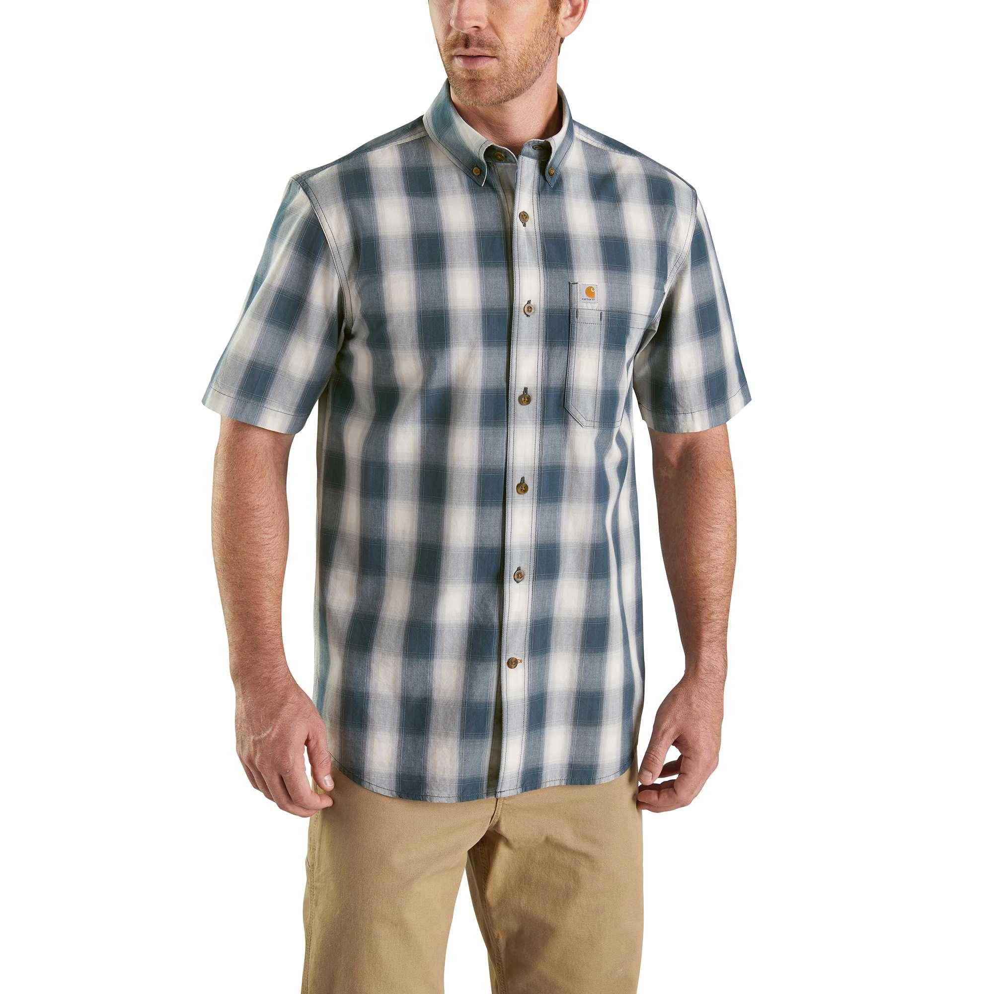 Men's Essential Plaid Button Down Shirt, Navy, swatch
