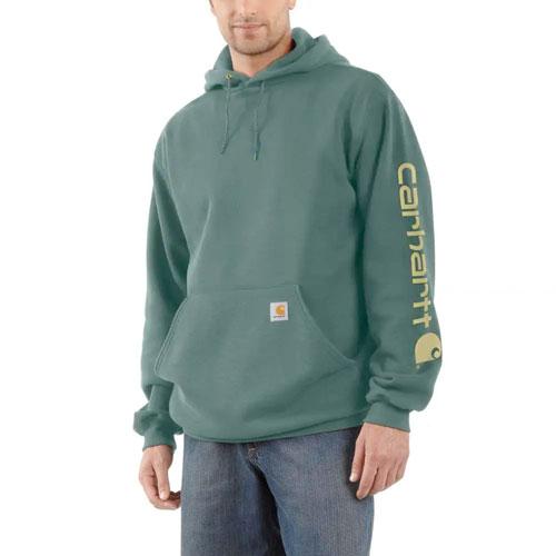 Men's Midweight Hooded Logo Sweatshirt, Green, swatch
