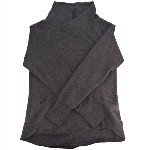 Women's Crossover Neck Pullover, Charcoal,Smoke,Steel, swatch