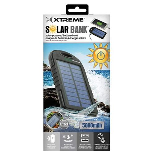 5000mAh Ultra Slim Solar Battery Bank, Black, swatch