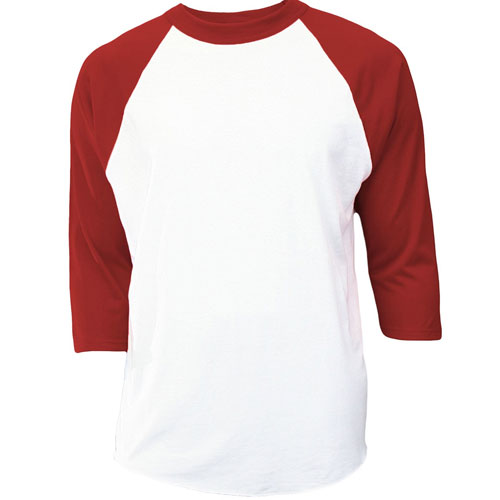 Youth 3/4 Sleeve Baseball Shirt, White/Red, swatch