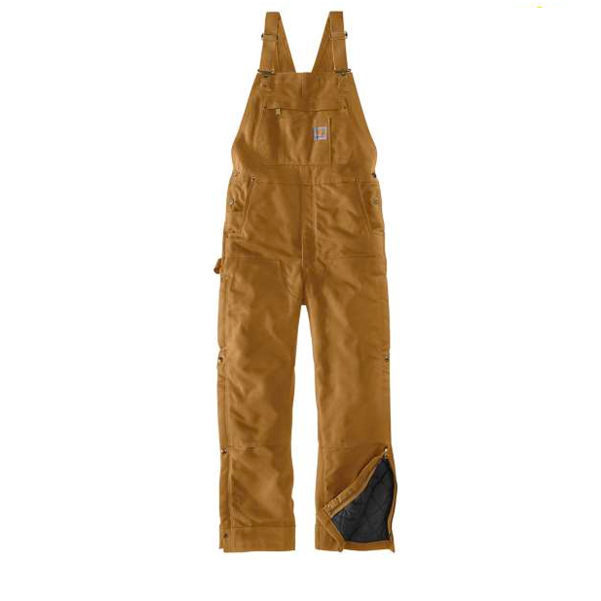 Men's Big Loose Fit Firm Duck Insulated Bib Overall, Wheat, swatch