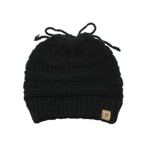 Women's Solid Ponytail Beanie, Black, swatch