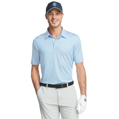 Men's Greenie Stripe Golf Polo, Blue, swatch