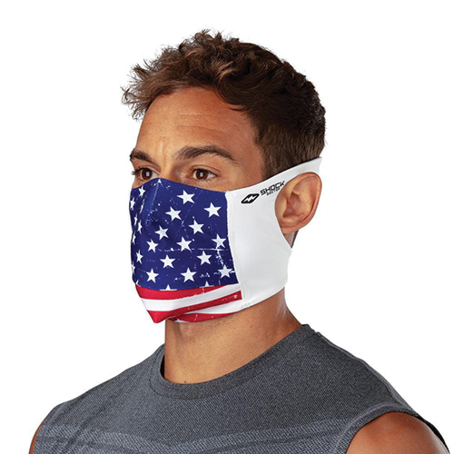 Play Safe Face Mask Graphic, Red, White And Blue, swatch