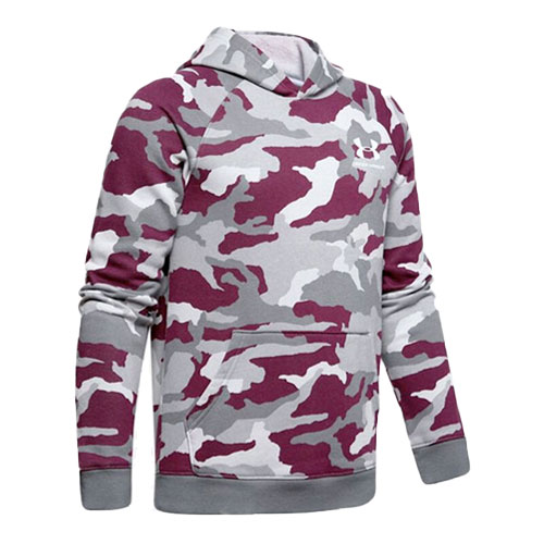 Boy's Rival Camo Printed Hoodie, Red, swatch