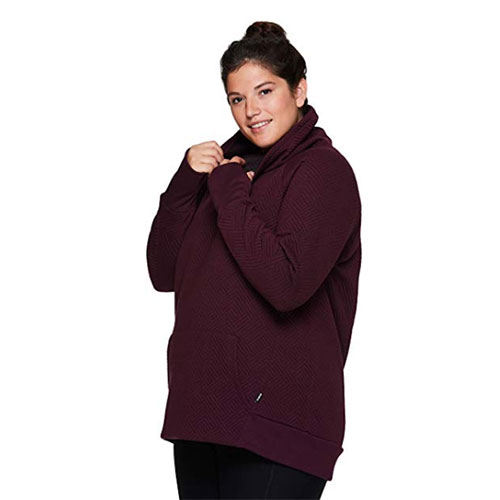 Women's Prime Quilted Cowl Neck Pullover Sweatshirt, Dk Red,Wine,Ruby,Burgandy, swatch