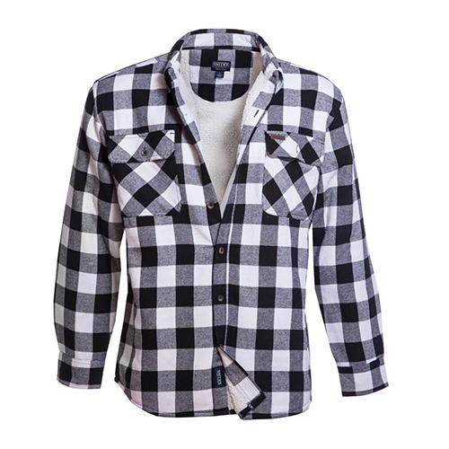 Men's Faux Sherpa Lined Flannel Shirt Jacket, White/Black, swatch