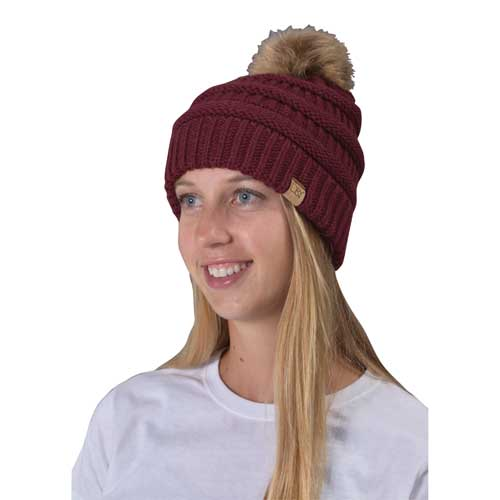 Women's Knit Beanie With Fur Pom, Dk Red,Wine,Ruby,Burgandy, swatch