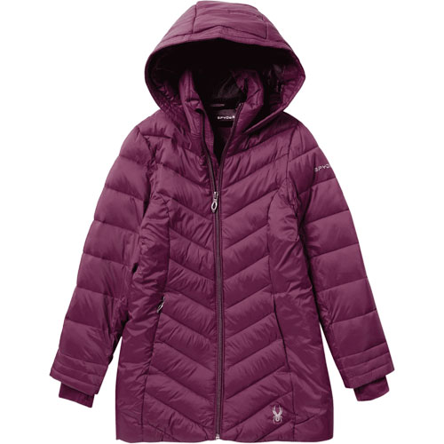 Girl's Long Boundless Ski Jacket, Purple, swatch