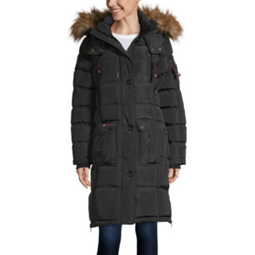 Women's 2-Pocket Puffer Jacket, Black/Black, swatch