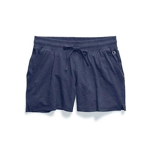 Women's Heathered Jersey Shorts, Navy, swatch