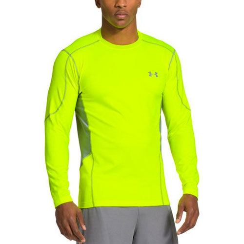 Men's ColdGear EVO Fitted Mock Long Sleeve Shirt, Green/Yellow, swatch