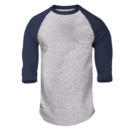 Adult Classic Heathered Baseball Tee, Gray/Blue, swatch