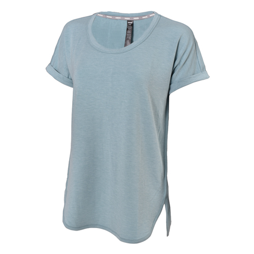 Short Sleeve Roll Cuff Popover Top, Lt Blue,Powder,Sky Blue, swatch