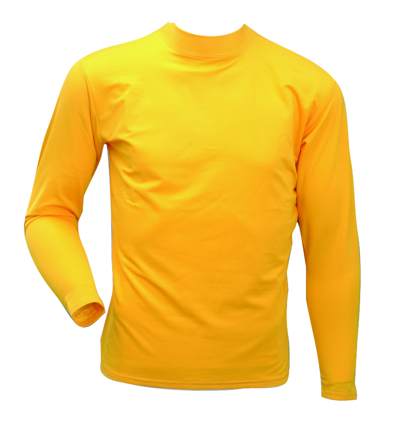 Men's Long Sleeve Cold Weather Mockneck Shirt, Gold, Yellow, swatch
