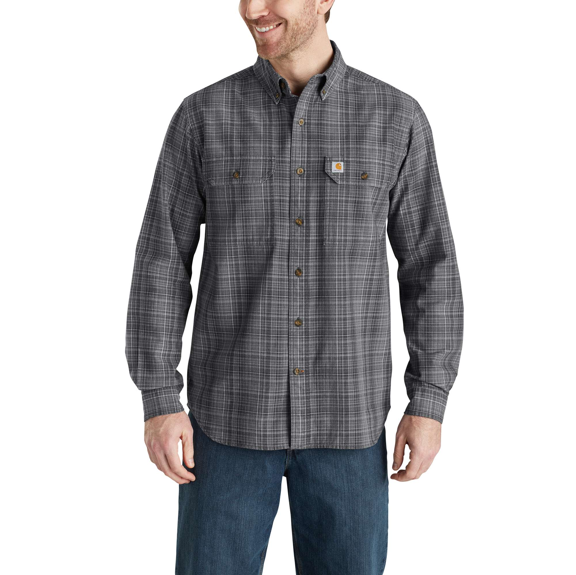 Men's Fort Plaid Long Sleeve Shirt, Gray, swatch