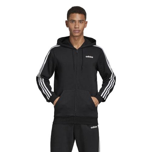 Men's Essentials 3-Stripes Fleece Full-Zip Hoodie, Black, swatch