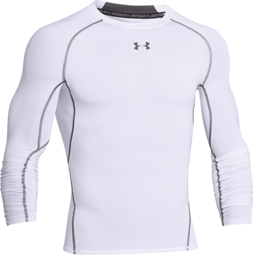 Men's HeatGear Armour Compression Long Sleeve Tee, White, swatch