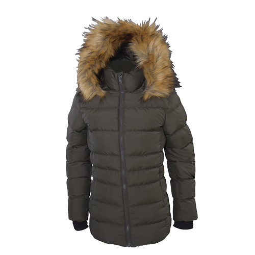 Girl's Hooded Synthetic Jacket, Green, swatch