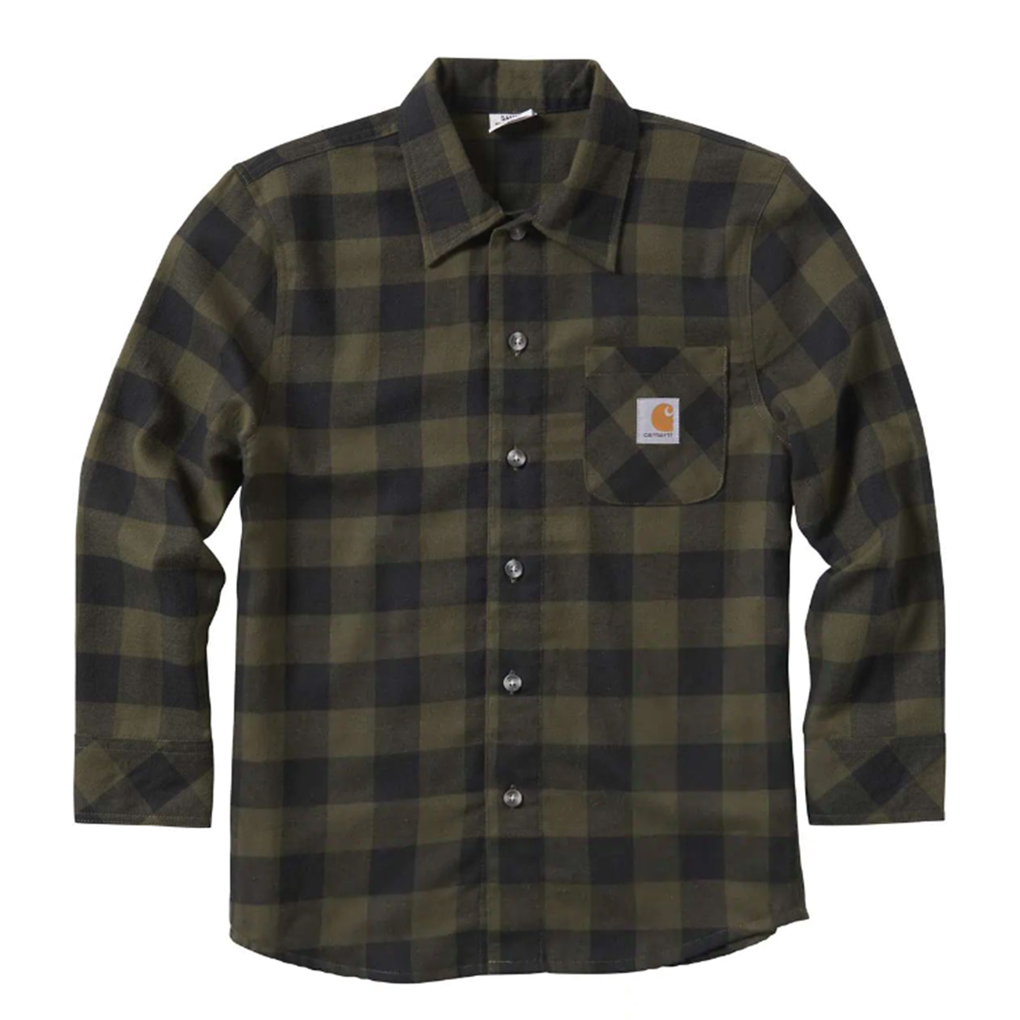 Youth Long Sleeve Plaid Shirt, Green/Blk, swatch