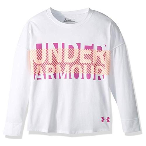 Girls' Overlay Long Sleeve T_Shirt, White, swatch