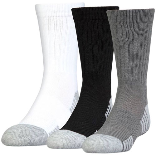 Heatgear Tech Crew Socks 3-Pack, White/Black/Gray/Silver, swatch