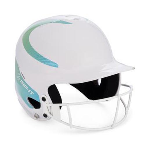 Vision Fastpitch Helmet, White/Aqua, swatch