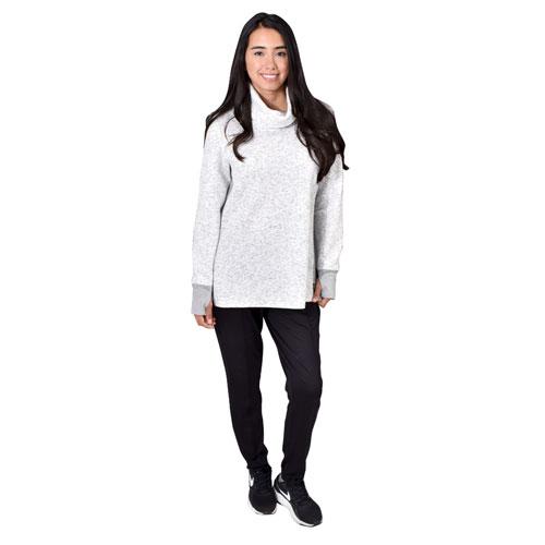 Women's Jacquard Long Sleeve Quilt Cowl Neck Sweat, Heather Gray, swatch