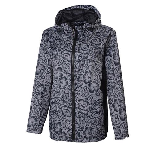 Women's Floral Pattern Jacket, Black/White, swatch
