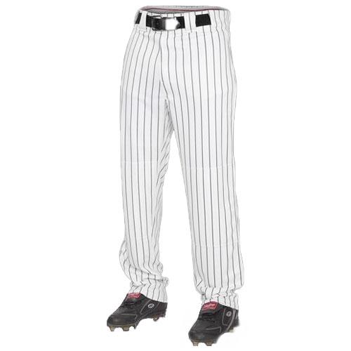 Adult Semi-relaxed Pinstripe Baseball Pants, White/Black, swatch