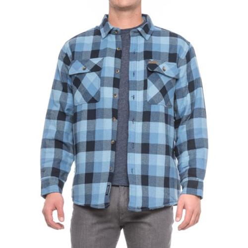 Men's Faux Sherpa Lined Flannel Shirt Jacket, Lt Blue/Blue, swatch