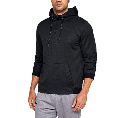 Men's Armour Fleece 1/2 Zip Hoodie, Black, swatch