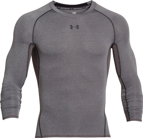 Men's HeatGear Armour Compression Long Sleeve Tee, Gray, swatch