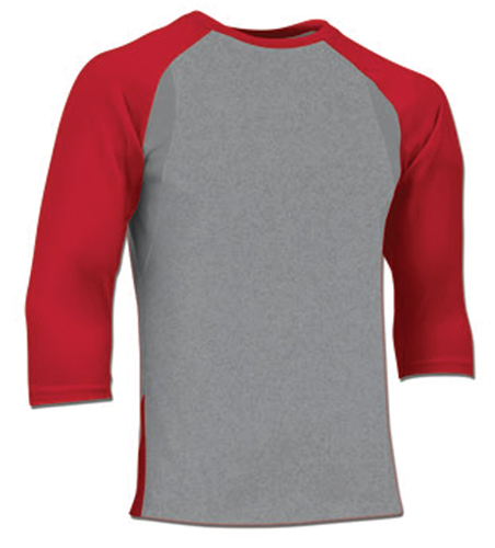 Adult Extra Innings 3/4 Sleeve Shirt, Gray/Red, swatch