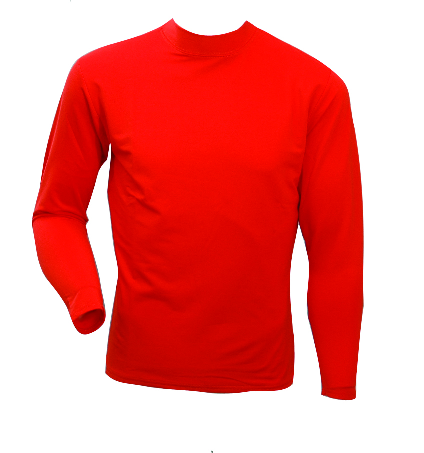 Men's Long Sleeve Cold Weather Mockneck Shirt, Burnt Orange, swatch