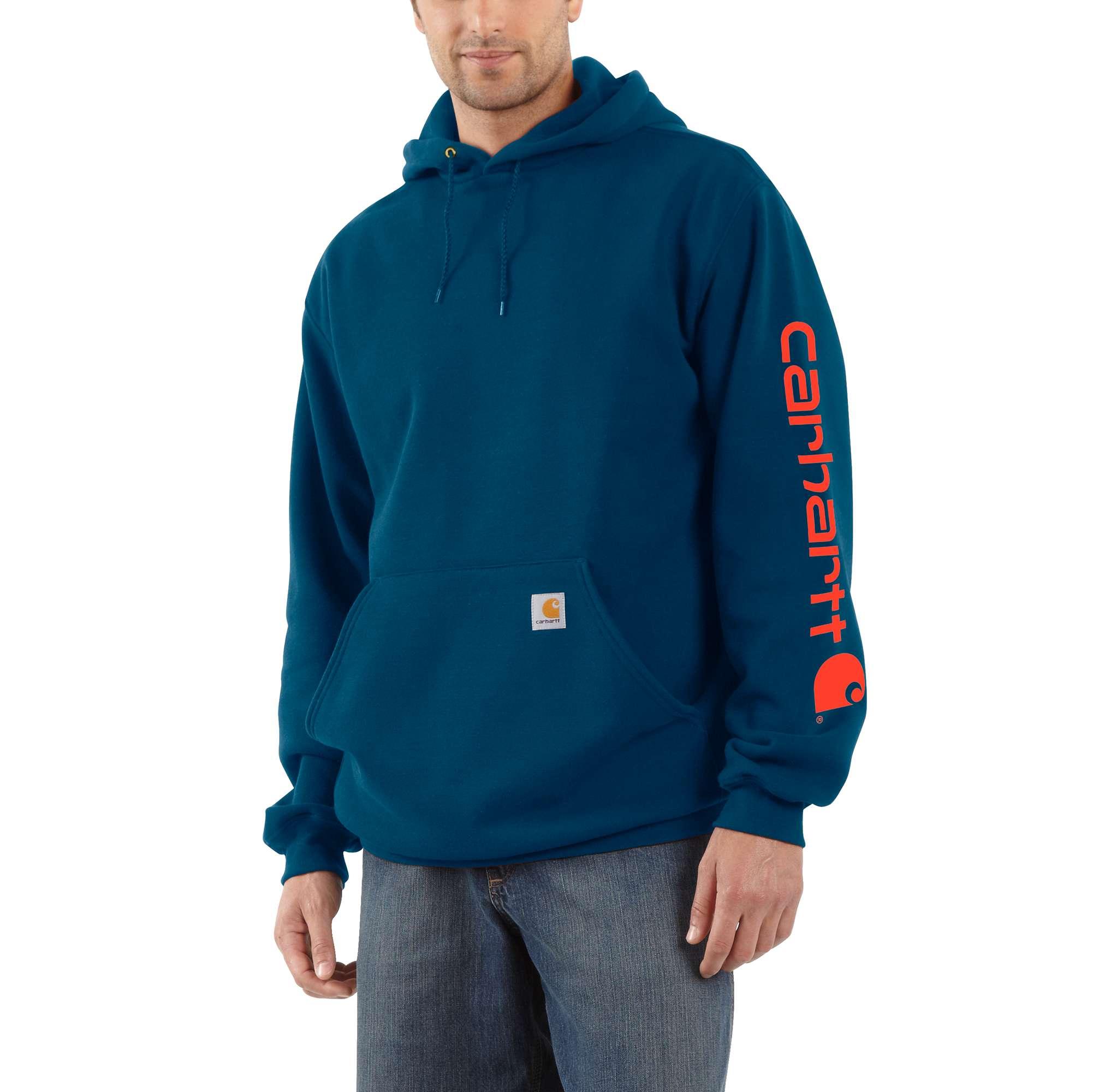 Men's Midweight Signature Logo Sleeve Hooded Sweatshirt, Blue, swatch