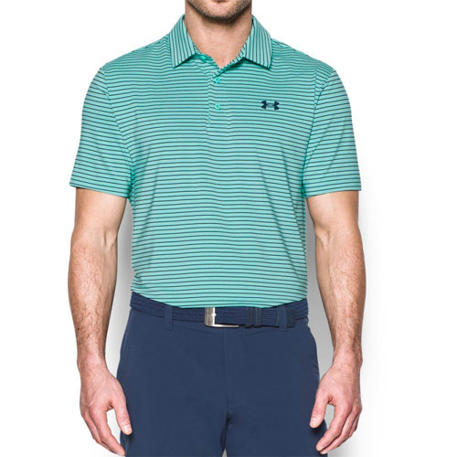 Men's Short Sleeve Striped Polo Golf Shirt, Green, swatch
