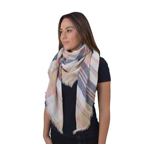 Women's Square Checkered Scarf, Cream,Natural,Eggshell, swatch