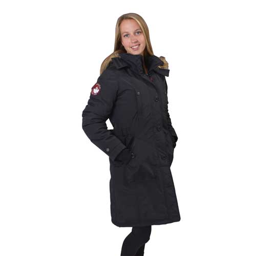 Women's Long Parka, Black, swatch