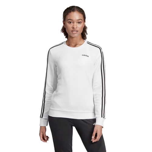 Women's Essentials 3-stripe Crewneck, White, swatch