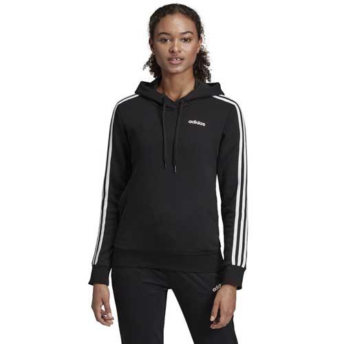 Women's Essentials 3-Stripe Hoodie, Black, swatch