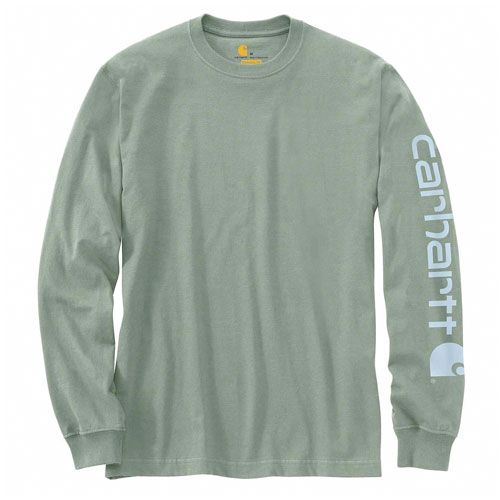 Men's Workwear Long-sleeve Graphic Logo T-Shirt, Green, swatch