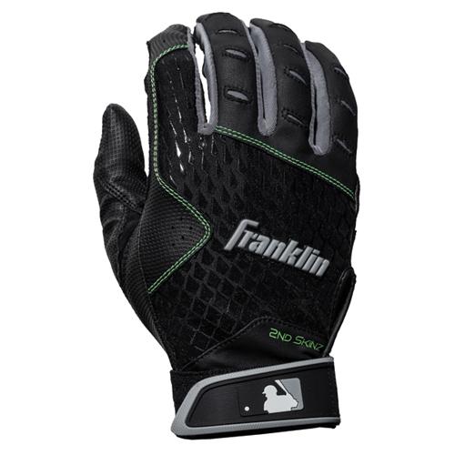 Men's MLB 2nd Skinz Batting Gloves, Black/Black, swatch