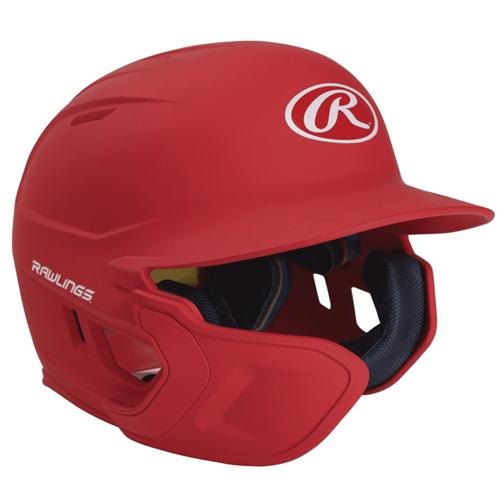 Senior MACH Matte Left-handed Batting Helmet, Red, swatch
