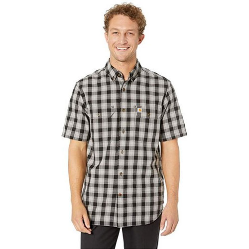 Men's Fort Plaid Chambray Short Sleeve Shirt, Black, swatch